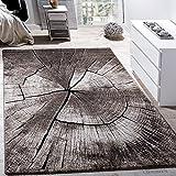 Paco Home Edler Designer Teppich Wohnzimmer Holzstamm Baum Optik Natur Grau Braun Beige,...