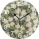 Eileen Max Wanduhr Hartriegelblütenmuster Blumenrunde Acryluhr Weiß Große Zahlenuhr Dekorativ