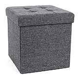 SONGMICS Sitzhocker mit Stauraum, Sitzwürfel mit Deckel, Sitztruhe, Aufbewahrungsbox, faltbar, max....
