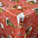 KEVKUS Wachstuch Tischdecke Meterware 01334-02 Weihnachten Weihnachtsbaum Geschenke rot wählbar in...
