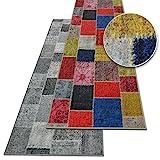 Teppichläufer Monsano   Patchwork Muster im Vintage Look   viele Größen   rutschfester Teppich...