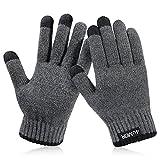 4UMOR Winterhandschuhe, Strick Fingerhandschuhe mit Herrenhandschuhe (L)