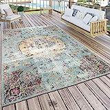 Paco Home In- & Outdoor Teppich Modern Orient Print Terrassen Teppich Wetterfest Türkis,...