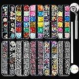 LOOHAOC 10 Boxen Nail Art Strass Kit Multi Design Zubehör mit 1 Pinzetten Deko Diamanten Kristalle...