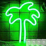 YIVIYAR Palme Leuchtreklame mit 4 Haken, Grün Hängendes LED-Neonlichtschild für Schlafzimmer...