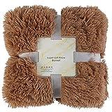 enjtsgyt Überwurf aus Plüsch, Kunstfell, wendbar, flauschig, zottelig, weich, warm, Geschenk für...