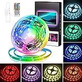 Euxh 5 m LED Strip Light Strip LED TV Backlight RGB USB LED Strip Light with Remote Control Colour...