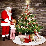 AULLY PARK Weiß Weihnachtsbaumdecke Christbaumständer Teppich Christbaumdecke Rund Weihnachtsbaum...