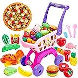 Buyger 31 Stück Kinder Einkaufswagen Küchenspielzeug Schneiden Obst Gemüse Lebensmittel Spielzeug...