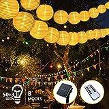 Solar Lichterkette Außen Lampions, FOCHEA Lichterkette Außen 9,3 m 50 LED 8 Modi IP65 Wasserdicht...