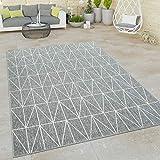 Paco Home Outdoor Indoor Grau Teppich 3D Optik Skandi Look Skandinavisches Design Kurzflor,...