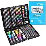pedy 164 TLG Malset, Zeichenset für Kinder-inkl. Wachsmalstifte, Wasserfarben, Pastelle,...