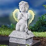 TRI Betender Engel, Engelfigur mit leuchtenden Flügel, Solar- Dekofigur Grabschmuck Gedenkstein...