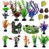 N|A Cayway 20 Stück Aquarium Künstliche Wasserpflanzen Steingarten Aquarium Dekoration Holzdekor...