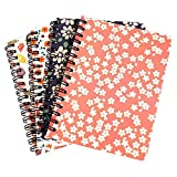 FANCYLEO EU 4 Packungen A6 Tagebuch Notizbücher 10,5 x 14,5 cm, florales Hardcover, Spiralheft,...