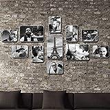 G.F. GF Vintage Friseursalon Fotowand Friseur Wand Dekoration 11 Fotorahmen Kombination Hintergrund...