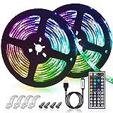 GLIME LED Streifen 6M Led Stripes RGB 5050SMD LED Bänder Lichtband mit 44 Tasten Fernbedienung 6...