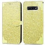 Nadoli Handyhülle kompatibel für Samsung Galaxy S10 Plus,Elegant Blumen Feder Muster...