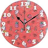 L.Fenn Flamingo-Ananas-Erdbeerrunde Wanduhr, Leise Keine Tickend-Dekorative Batteriebetriebene Uhr...