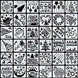 Firtink 36 Stück Schablonen Weihnachten Zeichenschablonen Malschablonen aus Kunststoff für DIY...