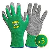 GRÜNTEK Gartenhandschuhe 5 Paar Pflanzenhandschuhe aus Polyesterfaser mit Latexbeschichtung,...