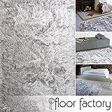 floor factory Hochflor Shaggy Teppich Prestige Silber grau 160x230 cm - superweicher Flauschiger...