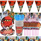 YNK Ninjago Geburtstag Deko 74-teilige, Geburtstag Party Set Ninjago Birthday Party Dekoratives...