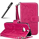 BtDuck HTC One M8 Hülle Leder, Brieftasche Flip Cover Portable Carrying Strap Embed Patterned...