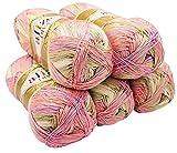 Alize 5 x 100 Gramm Diva Batik Wolle Mehrfarbig mit Farbverlauf, 500 Gramm merzerisierte Strickwolle...
