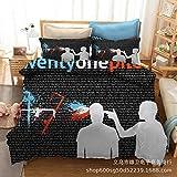Amswsi Einundzwanzig Piloten Band 3D Digitaldruck Bettwäsche Home Textil dreiteilige Bettwäsche...