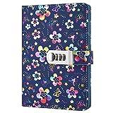 Nainaiwu Tagebuch, Notizbuch mit Schloss, Einband aus Kunstleder mit schönem Blumenmuster,...