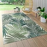 Paco Home In- & Outdoor Teppich Flachgewebe Jungel Gecarvtes Florales Palmen Design Grün,...