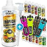 C.P. Sports Getränke Sirup zuckerfrei, Getränk 1:80 + Dosierpumpe und Trinkflasche,...