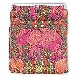 RNGIAN Weiches Mikrofaser-Bettwäsche-Set Yoga Elefant, 3-teiliges Bettwäsche-Set, Polyester,...