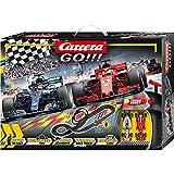 Carrera GO!!! Speed Grip Rennstrecken-Set   5,3m Rennbahn mit Vettels Ferrari SF71H & Hamiltons...