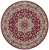 Nouristan Orientalischer Rundteppich Kurzflor Teppich Parun Tbriz Rot,  160 cm