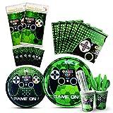 WERNNSAI Spielthema Party Spiel Geschirr Set - Spiel Thema Partyzubehör for Junge Gamer Geeks,...