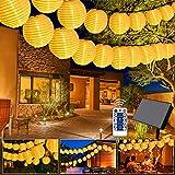 Greatever Solar Lichterkette, 10M 40er LED Lampion Lichterkette 8 Modi LED Lampion IP65 Wasserdicht...