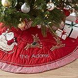 Guoz Weihnachtsbaum Rock,Rot Weihnachtsbaum Plüsch Schürze Runde Dekoration Weihnachtsbaumdecke...