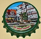 Kapselheber 'Kronkorken', grün, Motiv: Bad Sooden-Allendorf - Marktplatz: runder Flaschenöffner...