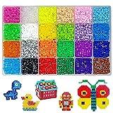 YGHH 13000 Stück Bügelperlen, Bügelperlen Stiftplatten Set, Mini 2,6 mm 24 Farbe Plastik...