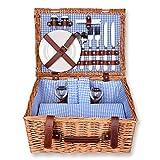 Schramm® Picknickkorb 40x30x20cm rechteckig aus Weidenholz für 2 Personen Picknickkoffer...