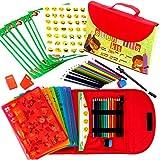 Schablonen Zeichnungs-Set fr Kinder groes 54-teiliges amsantes Reisettigkeits-Set, Organizer Koffer...