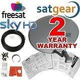 Satgear MK4 Sky/Freesat Zone 1, Quad LNB; 30 m langes Kabel und Befestigungsmaterial