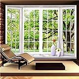 Fveng Newberli Benutzerdefinierte Fototapete 3D Stereoskopische grüne Fensterbank Landschaft...