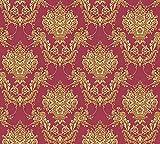 A.S. Création Vliestapete Chateau 5 Tapete mit Ornamenten barock 10,05 m x 0,53 m gelb metallic rot...