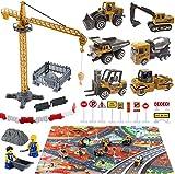 Baufahrzeuge Kinder Fahrzeug Spielzeug mit Spielmatte Kran Spielzeug Bagger Dampfwalze Planierraupe...