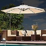 Swing & Harmonie Sonnenschirm mit LED Beleuchtung Ampelschirm 300cm / 350cm Solar Garten Schirm...