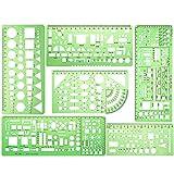 KINDPMA 6 Stück Zeichenschablone Technisches Zeichnen Geometrische Schablone Architektur...
