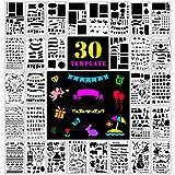 Fansteck Zeichenschablonen, 30 Stück Plus 1 Mini Pauch für Bullet Journal, Filofaxing, Kunnststoff...